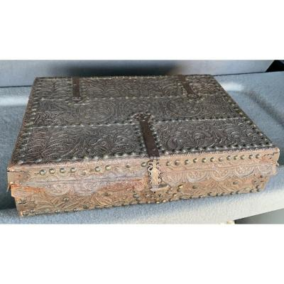 Large Embossed Leather On Rosewood Box, Mexico Early XVIIth