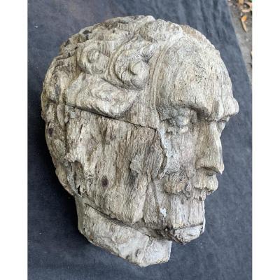 Wden Carved Head Nice Grey Patina, Roman Emperor ?