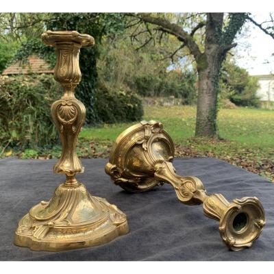 Superb Pair Of Louis XV Gilt Bronze Chiseled Candlesticks