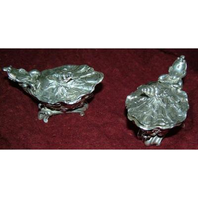 Pair Louis XV Solid Silver Salt By Master Goldsmith Morand  In Paris
