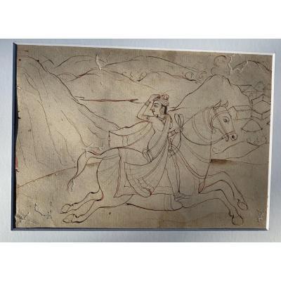 Indian Drawing Circa 1840/1860, Horsewoman