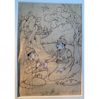 XIXth Indian Drawing With 2 Characters, Monkeys Playing On Tree