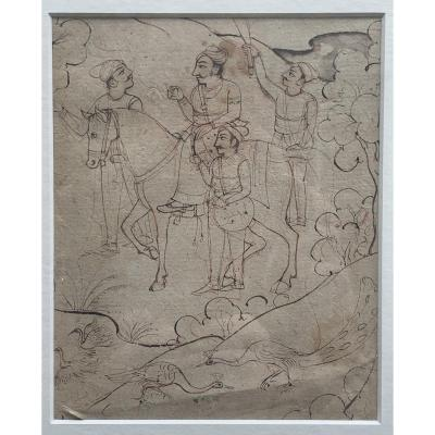 XIXth Indian Drawing & Wash, Rider With Peacocks