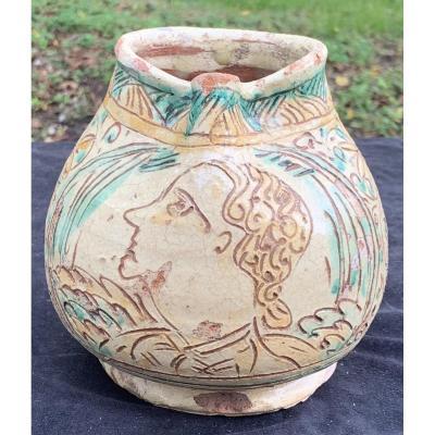 Sgraffito Ceramic Pitcher, Rubiera Italy XVth Cty