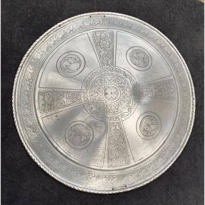 Iron Engraved Renaissance Rondache, Cast Soldier Profiles