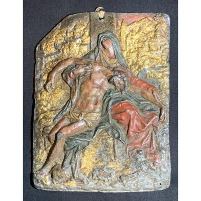 Painted Lead Plaque, The Lamentation Of Christ, Early XVIIth Cty