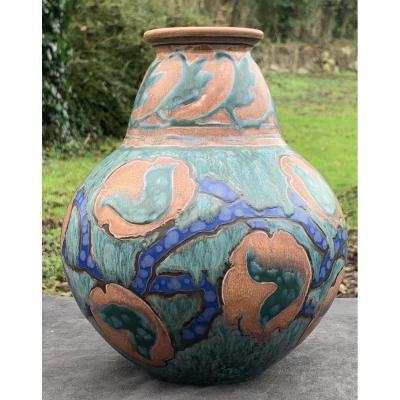 Art Deco Coloquinte Ceramic Vase,  Revernay 1896-1930