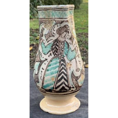 XVth Italian Primitive Lazio  Ceramic Pitcher, Falconer Scales Justice