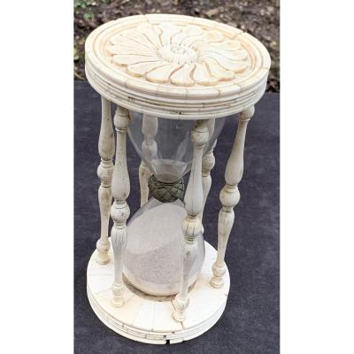Stunning & Rare Italian XVIIth Cty Bone Carved Hourglass