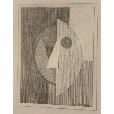 5 Cubist lead mine drawings series on portraiture thema by Fran&ccedil;ois VIANNAY<br />