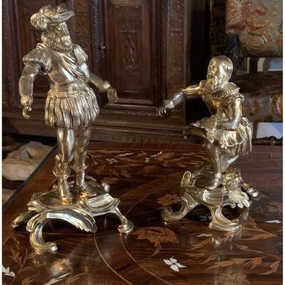 XVIIIe Paire statues bronze doré Henri IV & Sully