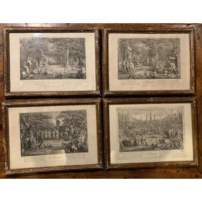 Series Of4 Engraving Satyrs' Life By Claude Gillot (1673-1722), Circa 1700/1720