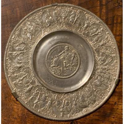 XVIIth Nuremberg Equestrian Portraits Ferdinand II & Habsburg Dynasty Electors Tin Dish