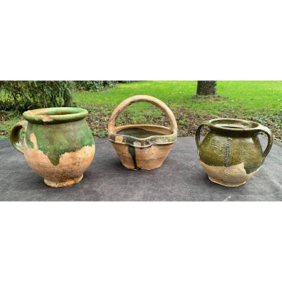 3 Saintonge Green Enemelled Potteries From XVIth To XVIIth Centuries