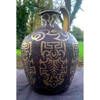 Unique Artwork Ceramic Ewer From Marius Fourmont, Dated 1907