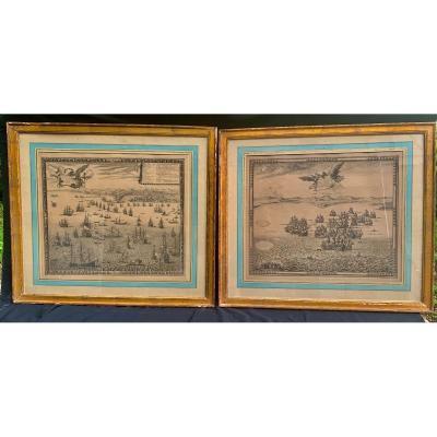 Claude Auguste BEREY 1660-1730 paire  gravures marines Gênes & Gibraltar