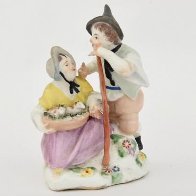 Group In Polychrome Porcelain From Vienna Couple Of Peasants, Eighteenth