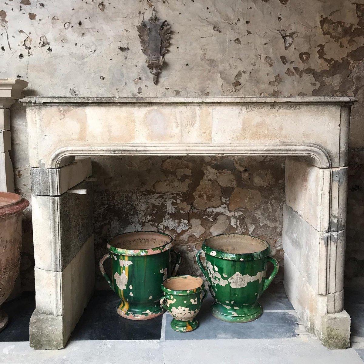 18th Century Louis XIV Stone Fireplace