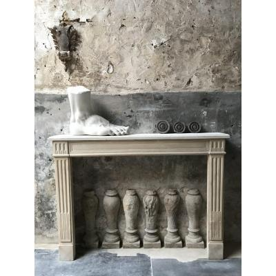 Louis XVI Parisian Stone Fireplace
