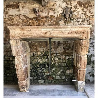 Louis XIV Stone Fireplace