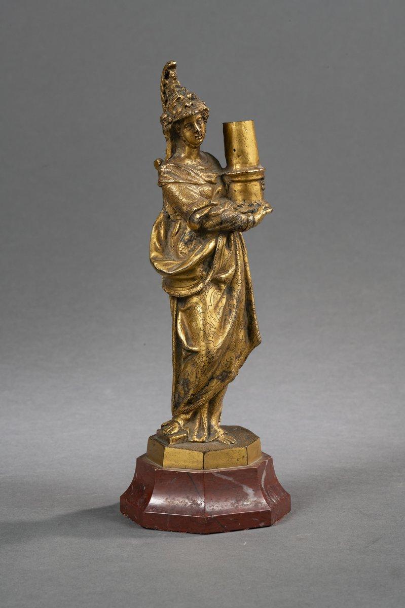 Bougeoir Minerve En Bronze Doré - Venise, XVIIe Siècle -photo-2