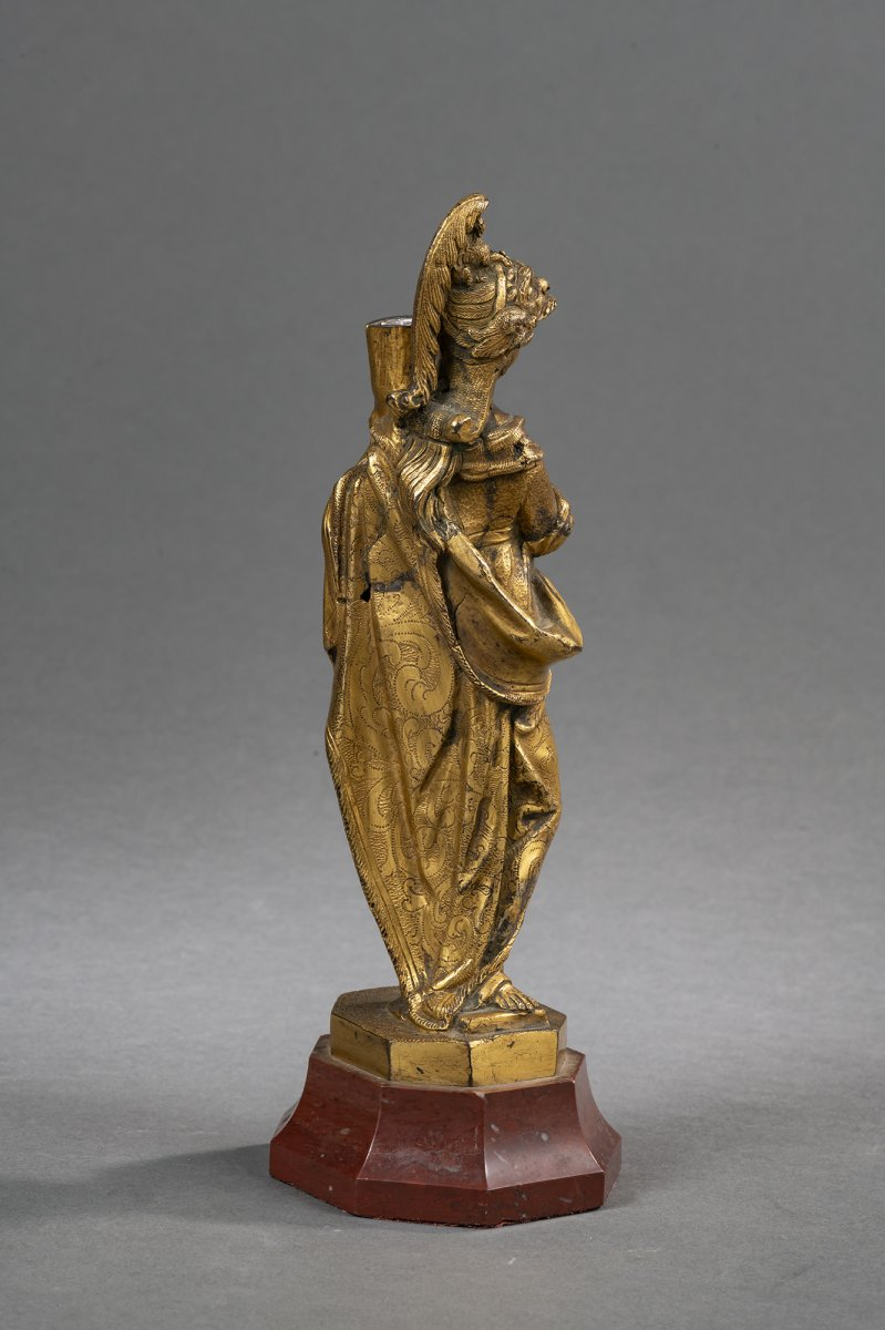 Bougeoir Minerve En Bronze Doré - Venise, XVIIe Siècle -photo-3