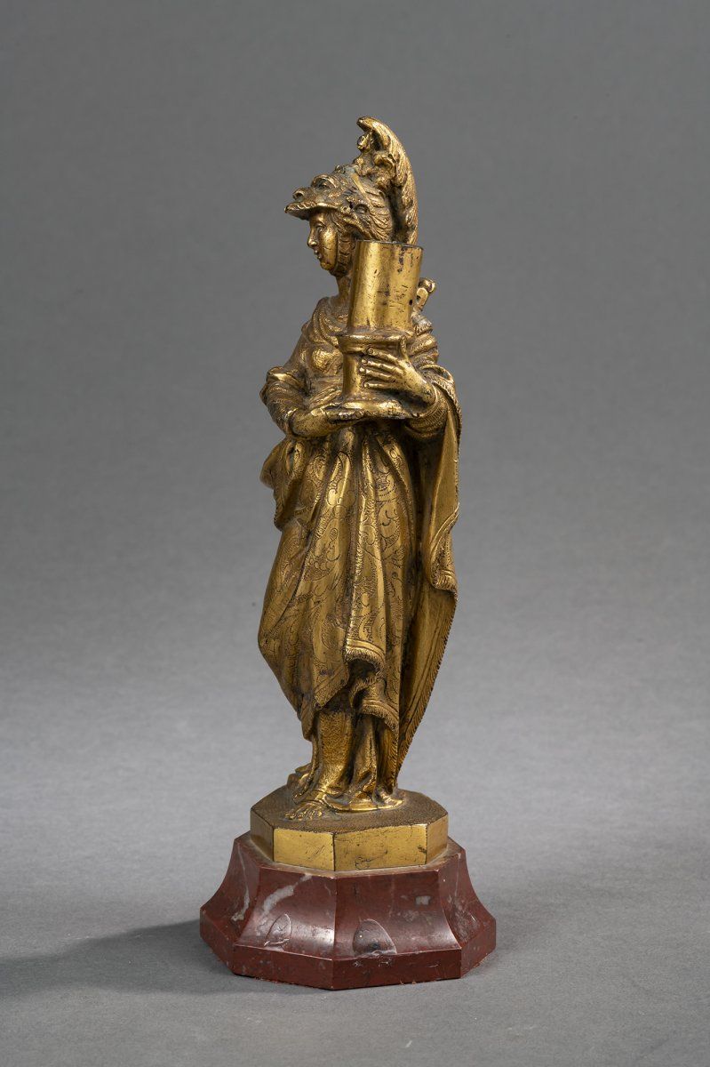 Bougeoir Minerve En Bronze Doré - Venise, XVIIe Siècle -photo-4