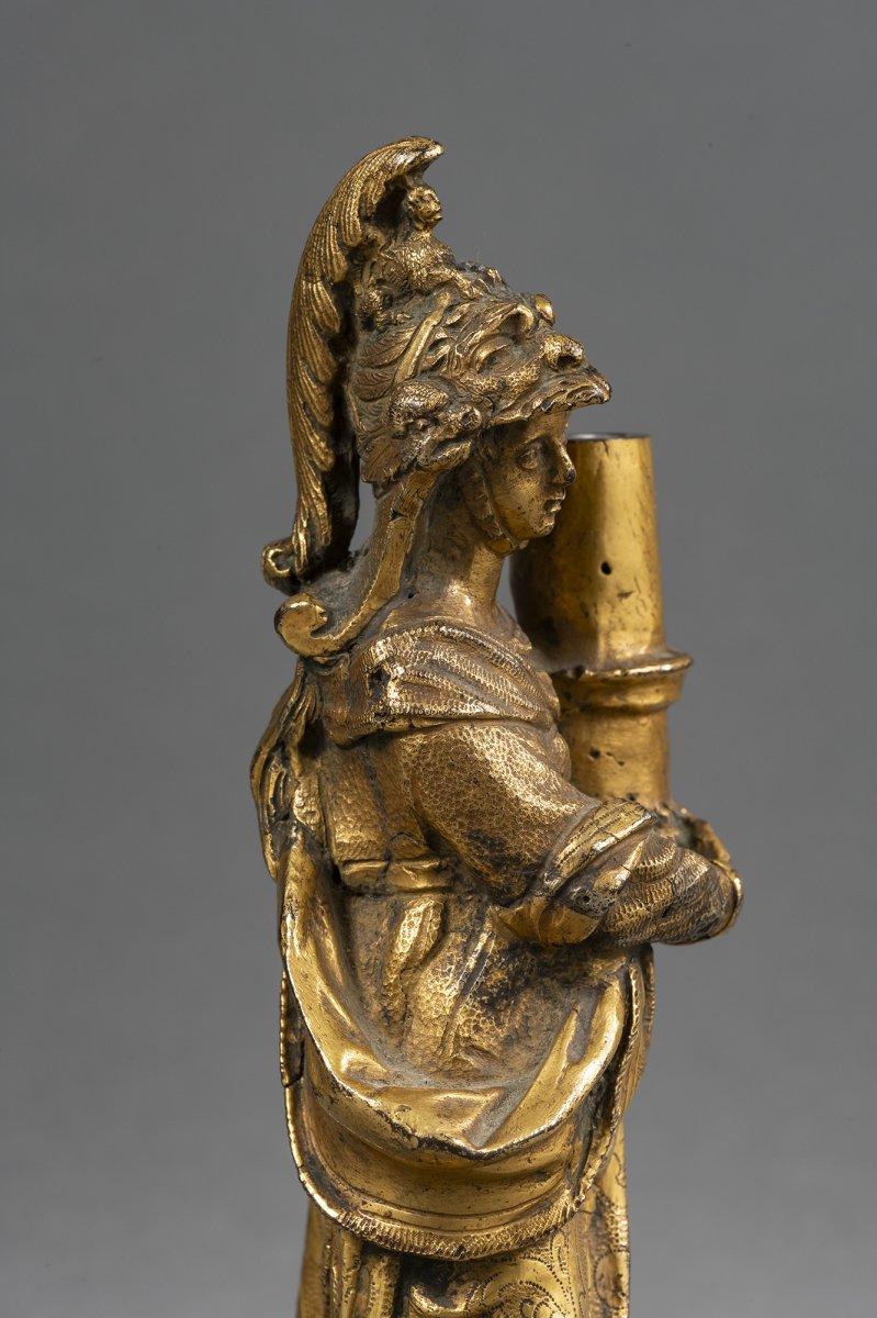 Bougeoir Minerve En Bronze Doré - Venise, XVIIe Siècle -photo-1