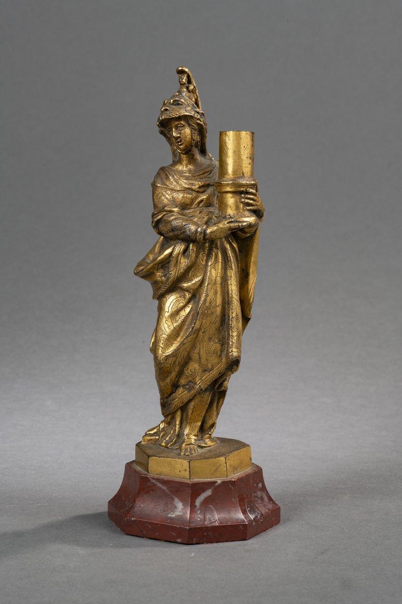 Bougeoir Minerve En Bronze Doré - Venise, XVIIe Siècle