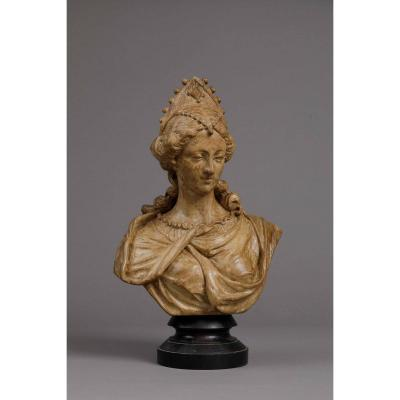 Bust Of Woman In Walnut - Antwerp C. 1660-1690, Circle Of Quellin The Younger
