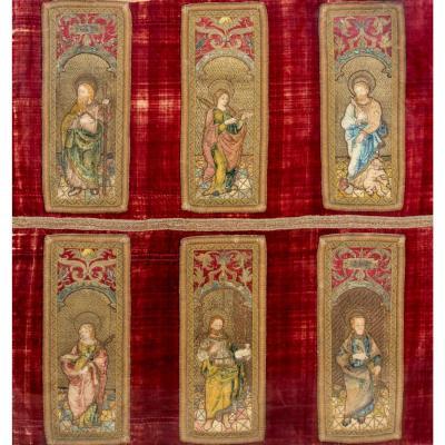 Ensemble monumental de six broderies de laine et de soie - France, XVIe siècle