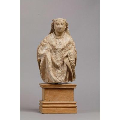 Bust Of Saint Bishop In Polychrome Stone - Picardy, Amiens Region, 15th Century