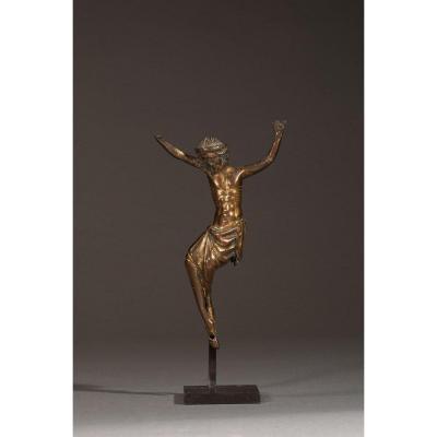 Christ En Bronze Doré - France (Meuse ?), Milieu Du XIVe Siècle