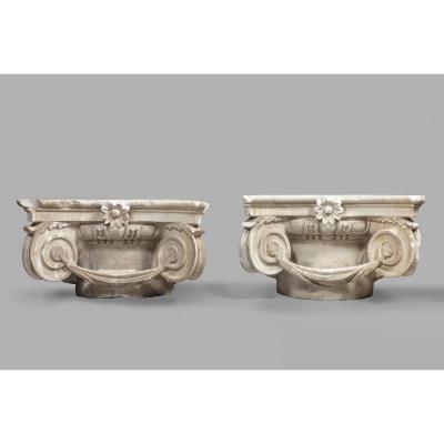 Paire De Chapiteaux En Marbre De Carrare - Italie, XVIIe Siècle