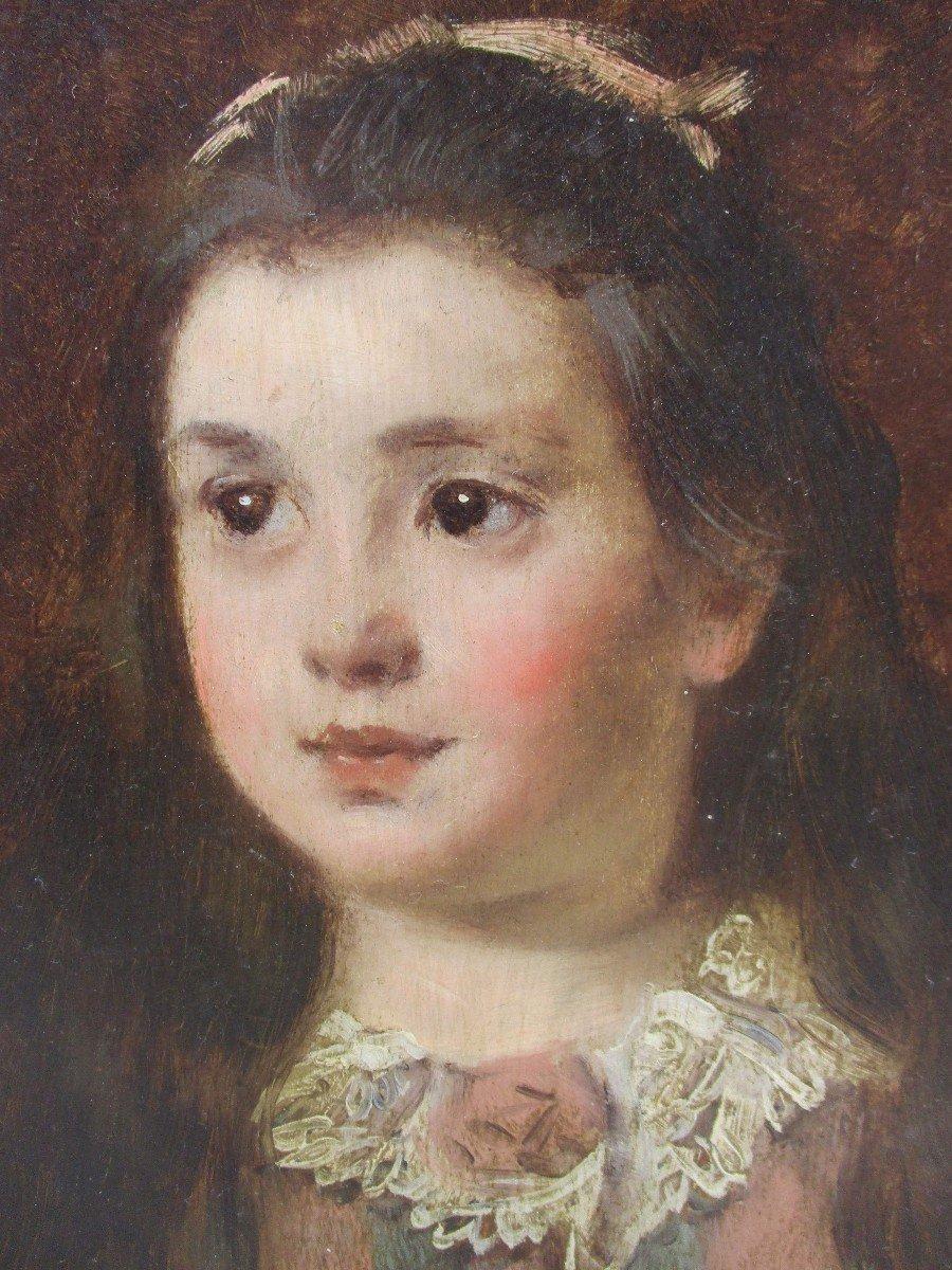 La Petite Fille Au Col En Dentelle: Portrait Peinture Belle Epoque Par Fernand De Launay, -photo-2