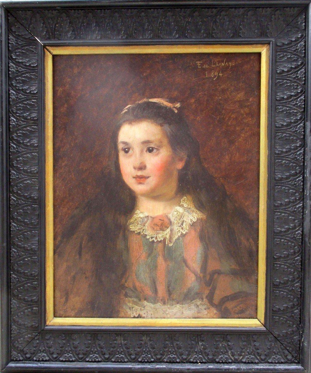 La Petite Fille Au Col En Dentelle: Portrait Peinture Belle Epoque Par Fernand De Launay, -photo-4