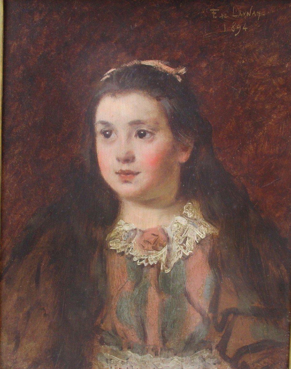 La Petite Fille Au Col En Dentelle: Portrait Peinture Belle Epoque Par Fernand De Launay,