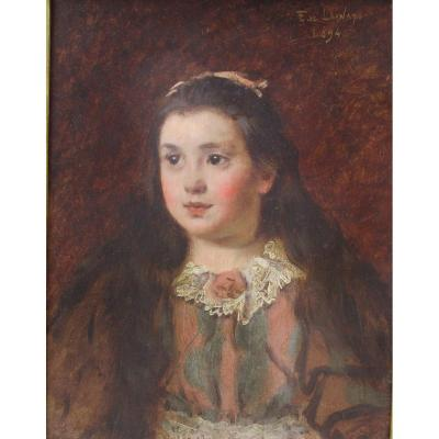 The Little Girl With A Lace Collar: Belle Epoque Painting Portrait By Fernand De Launay