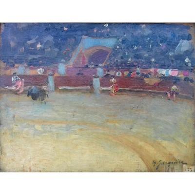 Féria Corrida Pointilliste Vers 1900  tauromachie par Henri Jacquier