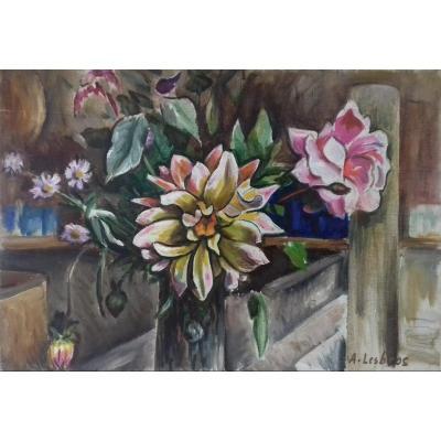 Les Fleurs Dans l'Atelier: Nature Morte  Cubisante Aux Fleurs Esprit Art Deco