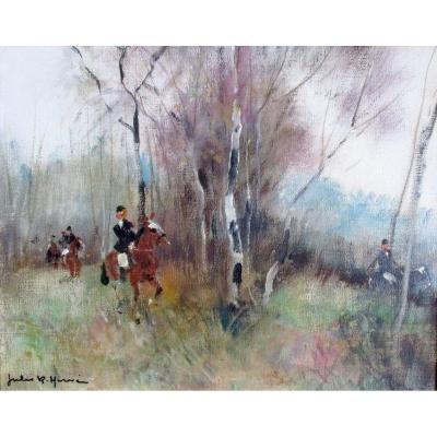Cavaliers Dans Les Bois, La Chasse Paysage Animée Huile Sur Toile Peinture Par Jules René Hervé