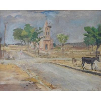Peinture Orientaliste Algérie 1938  Par Miloud Boukerche (1908-1978)