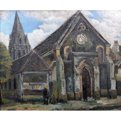 Raymon Besse Banlieue De Paris  Athis-mons église Saint Danis Circa 1930 Huile Sur Toile