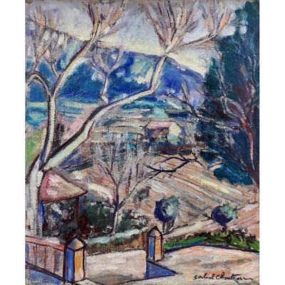 Gabriel-Marie Chanteau, Peintre Nantais: Lumière Hivernale  Dans Les Alpilles, Toile Cubisante