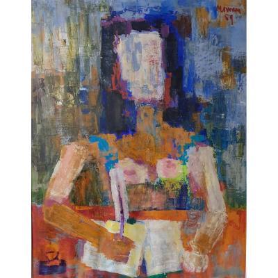Jean Jacque Morvan: Femme à La Lettre Cubisante 1959  Ecole de Paris, Jeune Peinture