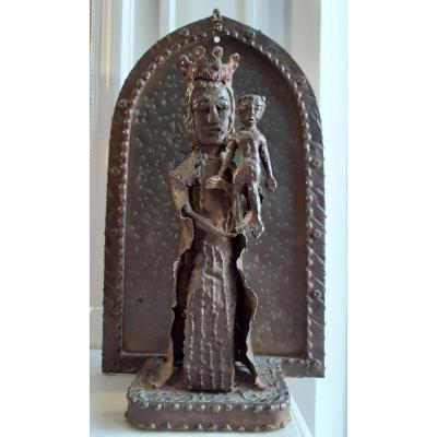 Art  Brut Art Singulier - Sculpture Insolite Vierge à l'Enfant En Fer Et Tôle, Milieu 20ème