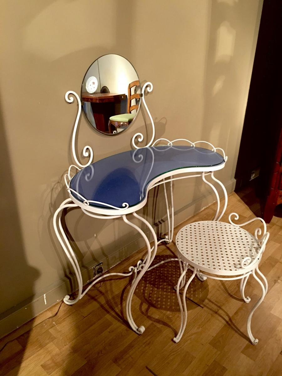 Wrought Iron Dressing Table And Chair