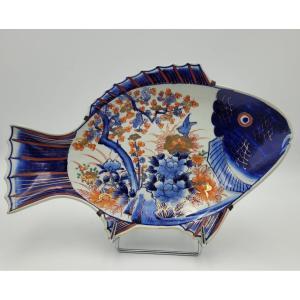 Plat En Forme De Poisson, Porcelaine Polychrome Du Japon, 19th