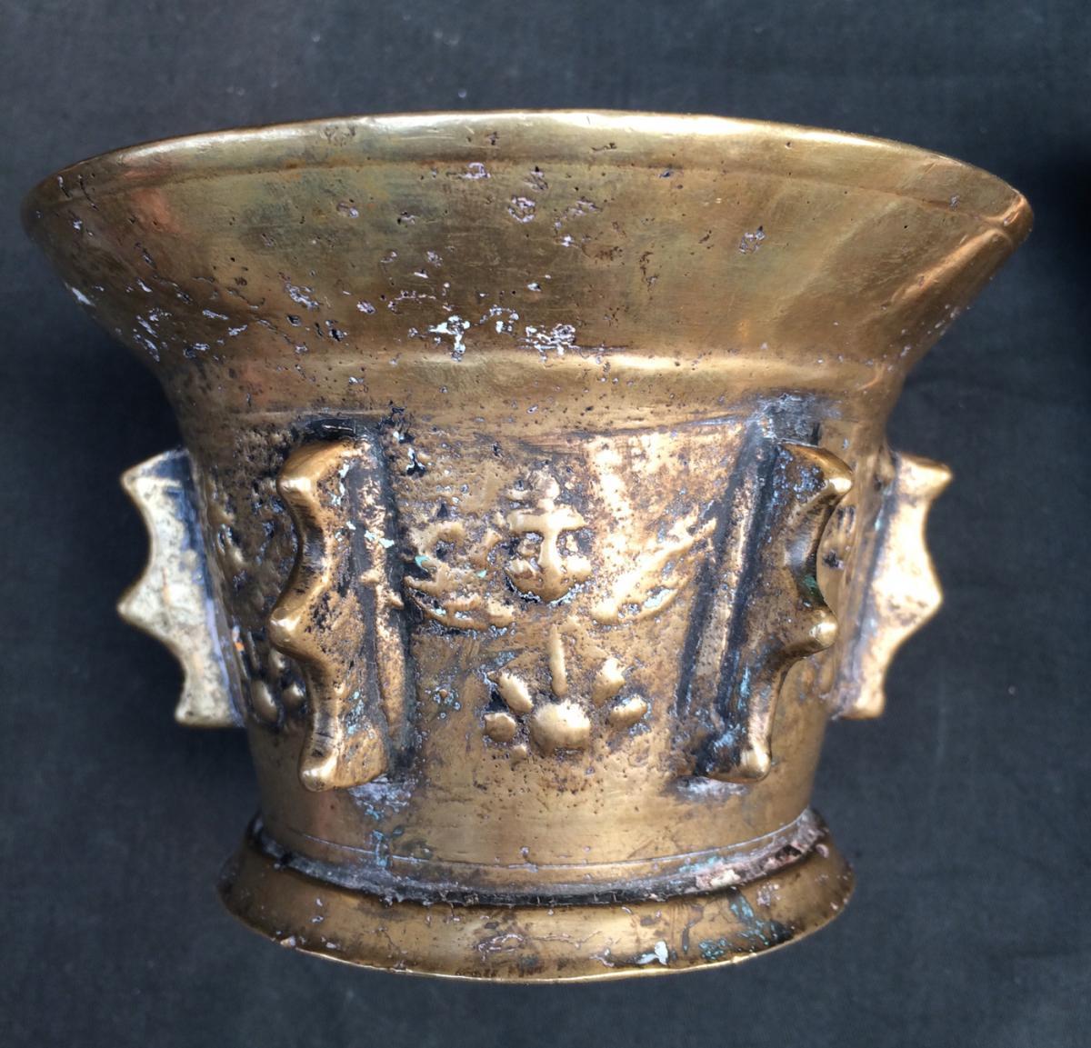 Mortier d'Apothicaire Et Son Pilon-angelots Appliqués-bronze-17e-haute Époque--photo-3