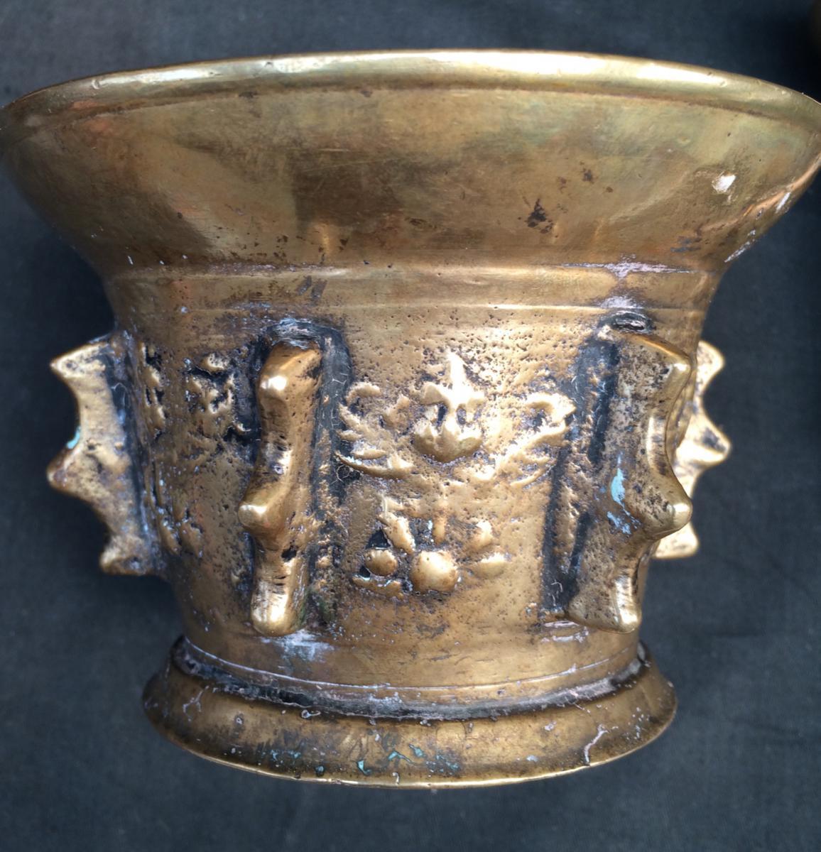 Mortier d'Apothicaire Et Son Pilon-angelots Appliqués-bronze-17e-haute Époque--photo-4